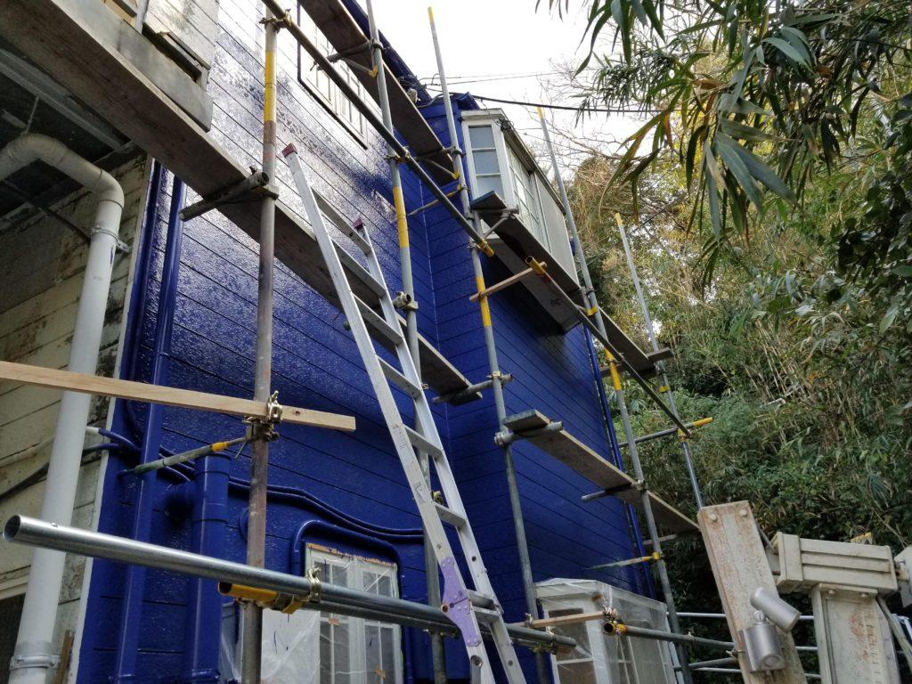 外壁塗装リフォームの施工中
