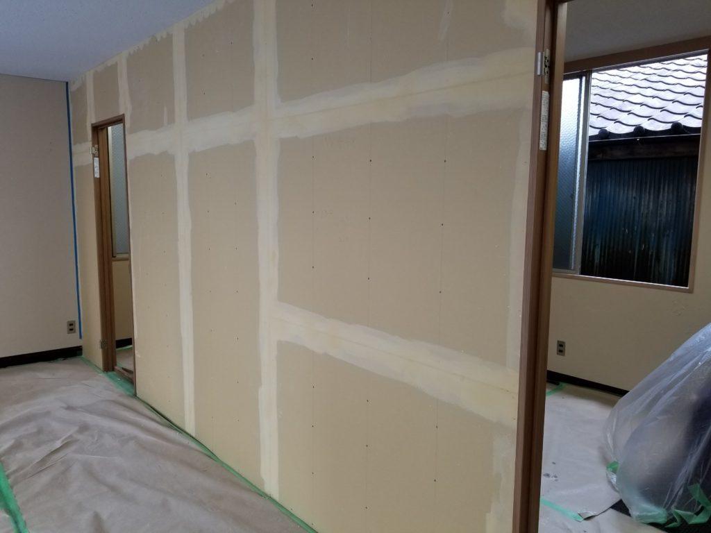 間仕切り壁のリフォーム施工中